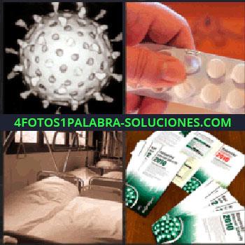 4 Fotos 1 Palabra - Bola blanca con agujeros, camas de hospital, medicamentos, pastillas
