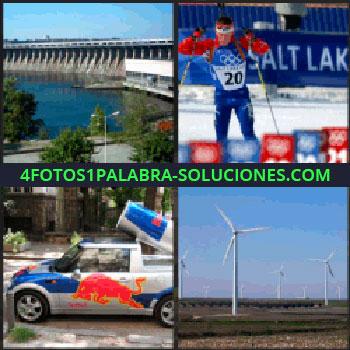 4 Fotos 1 Palabra - Embalse de agua, esquiador olímpico, auto de red bull, molinos de viento, red bull