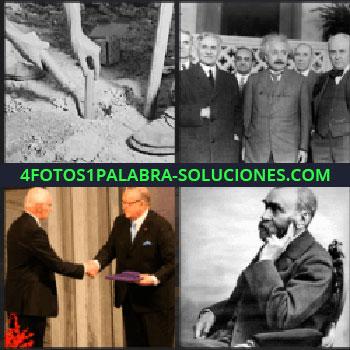 4 Fotos 1 Palabra - Albert Einstein con otros hombres, hombre sentado en una silla, dos hombres dándose la mano, foto en blanco y negro
