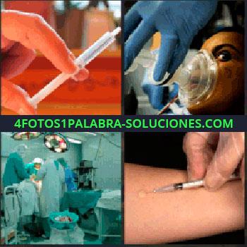 4 Fotos 1 Palabra - Inyección, doctores en quirófano, operación, hospital, oxígeno, jeringuilla