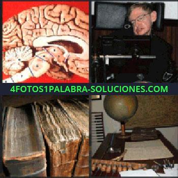 4 Fotos 1 Palabra - Stephen Hawking, libros antiguos, escritorio con bola del mundo y mapa viejo en la pared, cerebro