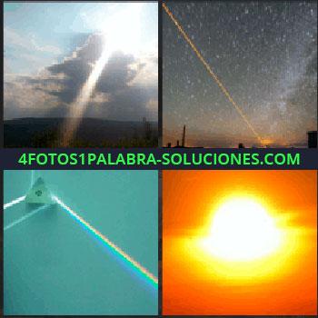 4 Fotos 1 Palabra - Reflejo del sol en el cielo, rayo laser de color naranja en cielo estrellado, colores del arco iris, sol