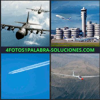 4 Fotos 1 Palabra - Aeropuerto, aviones de guerra, planeador, cielo azul con marcas de haber pasado un avión