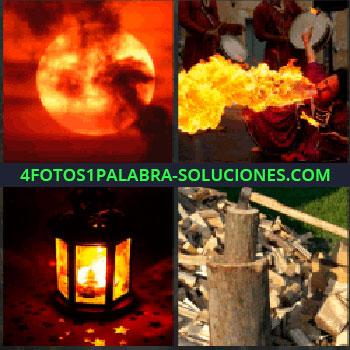 4 Fotos 1 Palabra - Sol naranja o atardecer. Hoguera o fogata. Lámpara de aceite. leña. Cortando madera con el hacha