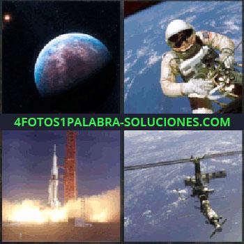 4 Fotos 1 Palabra - La Tierra. Astronauta. cohete espacial despegando. Satélite artificial