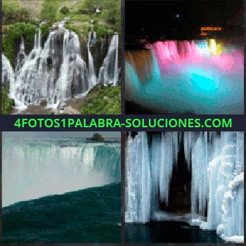 4 Fotos 1 Palabra - catarata. Espectáculo de luces en el agua. Cataratas del Niagara. Salto de agua helado