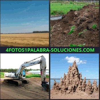 4 Fotos 1 Palabra - campo. Montaña de estiércol. Tractor o retro. Formas con la arena en la playa