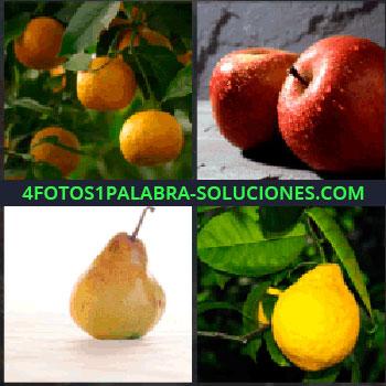 4 Fotos 1 Palabra - Naranjas o mandarinas. Manzanas rojas.pera. Limón