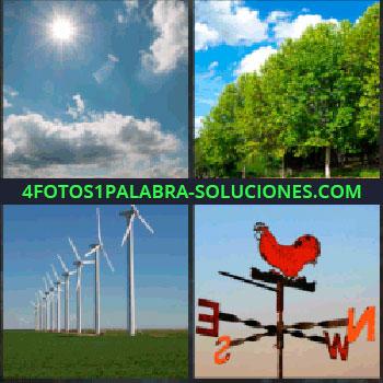 4 Fotos 1 Palabra - Sol entre nubes. Arboleda. molinos energía eólica. Veleta con un gallo