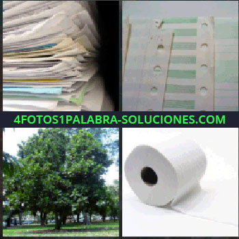 4 Fotos 1 Palabra - Montaña de documentos. hojas con agujeros para carpeta. Arboles. Papel higiénico