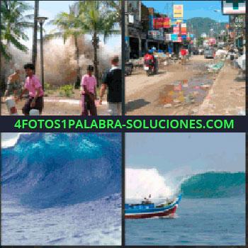 4 Fotos 1 Palabra - inundación. Calle ciudad con agua. Ola del mar gigante. Barco contra ola