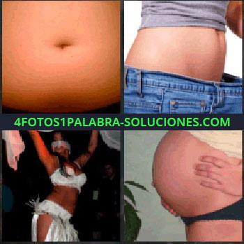 4 Fotos 1 Palabra - barriga. Mujer con pantalón grande. Mujer bailando danza del vientre. Embarazada