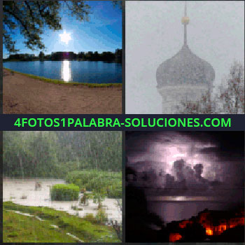 4 Fotos 1 Palabra - Paisaje con un lago, torre con nieve, cúpula de una bola dorada, lluvia sol tormenta nieve