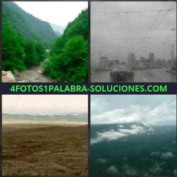 4 Fotos 1 Palabra - Naturaleza. Rio y bosque verde. coche lloviendo. Campo o laderas. Nubes