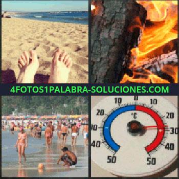 4 Fotos 1 Palabra - pies en la arena. Hoguera o fuego. Gente en la playa. Termómetro