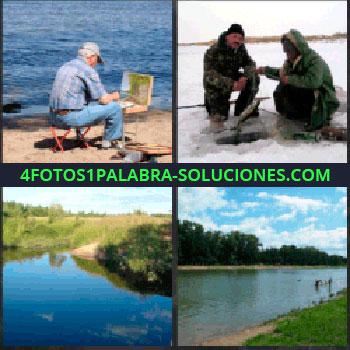4 Fotos 1 Palabra - Hombre pintando junto al pantano. Personas en el hielo. Estanque. lago