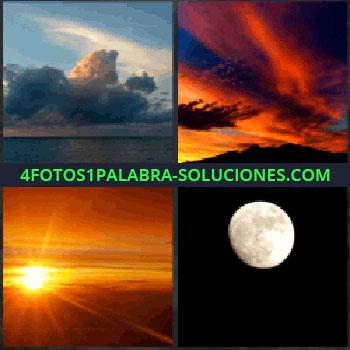4 Fotos 1 Palabra - nubes y océano. Nubes anaranjadas. Atardecer. Luna