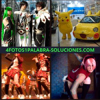 4 Fotos 1 Palabra - Gente disfrazada, niñas bailando y cantando, chica con peluca de color rosa, pikachu