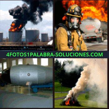 4 Fotos 1 Palabra - Central nuclear en llamas, fogata con humo, remolque con bomba, misil, bombero