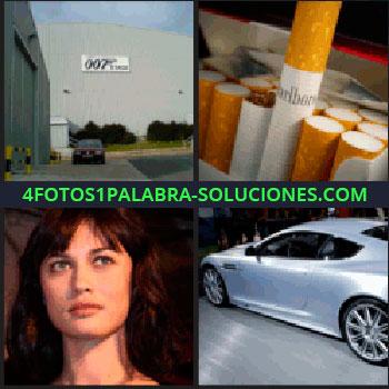 4 Fotos 1 Palabra - Carro o coche, mujer, actriz, estudios de cine, cartel 007, tabaco