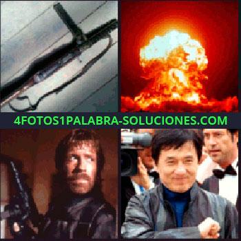 4 Fotos 1 Palabra - Jackie Chan, Chuck Norris, actores, bomba nuclear, explosión metralleta