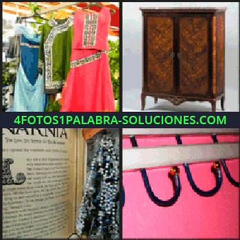 4 Fotos 1 Palabra - Vestidos, mueble, libro antiguo junto joyas, perchero en pared de color rosa, Narnia