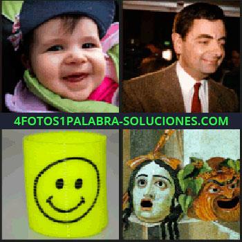 4 Fotos 1 Palabra - Bebé sonriendo, actor de Mr. Bean, pintura de dos cabezas con la boca abierta, carita feliz.