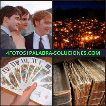 4 Fotos 1 Palabra - Tarot, luces de una ciudad vista desde arriba, actores de Harry Potter, cartas libros antiguos