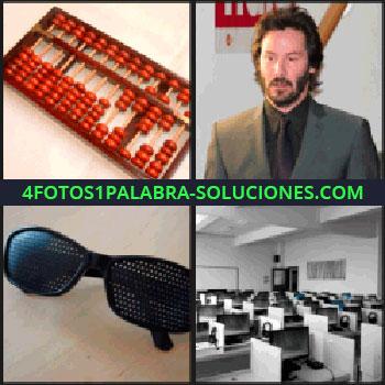 4 Fotos 1 Palabra - Keanu Reeves, Gafas o lentes negras con agujeros, sala con computadoras u ordenadores, ábaco rojo