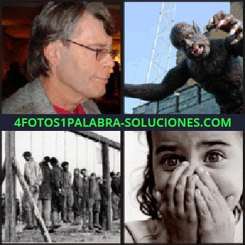 4 Fotos 1 Palabra - Monstruo, hombre de perfil, foto en blanco y negro de personas ahorcadas, niña tapándose la boca