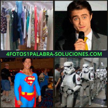 4 Fotos 1 Palabra - Actor hablando por micrófono, soldados de Star Wars, superman ropa colgada.