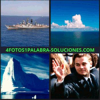 4 Fotos 1 Palabra - Barco, mar y cielo azul con nubes, Leonardo DiCaprio,iceberg