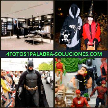 4 Fotos 1 Palabra - Figuras de superhéroes. Popeye. Spiderman. Tienda de ropa, disfraces. batman