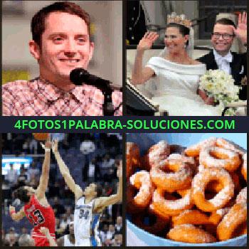 4 Fotos 1 Palabra - Actor de El Señor de los Anillos, recián casados saludando desde un carro, roscos, boda baloncesto.