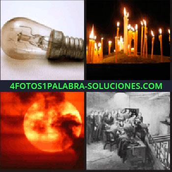 4 Fotos 1 Palabra - Velas encendidas, luna llena tras nubes, foto en blanco y negro de gente en una habitación, bombilla