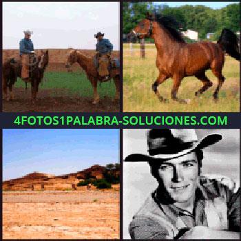 4 Fotos 1 Palabra - 2 vaqueros a caballo, paisaje desierto, actor con sombrero de vaquero, caballo vaqueros