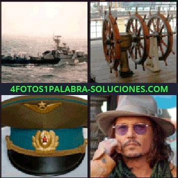 4 Fotos 1 Palabra - 3 timones, sombrero militar, Johnny Depp, actor, hombre con lentes y sombrero, buque