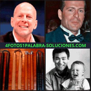 4 Fotos 1 Palabra - Actores, artículos para artes marciales, hombre oriental con niño, Bruce Lee con su hijo Brandon Lee, Bruce Willis