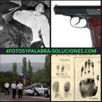 4 Fotos 1 Palabra - Hombre muerto, polícia, huellas dactilares, pistola