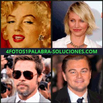4 Fotos 1 Palabra - Marilyn, Cameron Diaz, Brad Pitt, Leonardo DiCaprio, 2 actrices y 2 actores, Marilyn