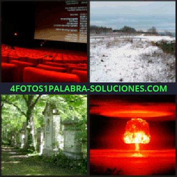 4 Fotos 1 Palabra - cine con butacas rojas, paisaje nevado, cementerio, explosión nuclear, cine vacío