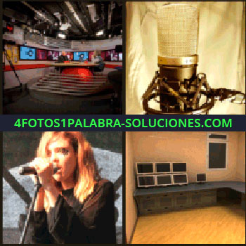 4 Fotos 1 Palabra - Plató de televisión, chica cantando, cantante, habitación, cuarto micrófono
