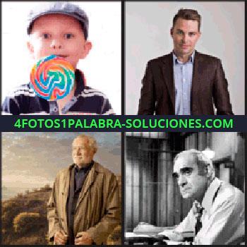 4 Fotos 1 Palabra - Chico joven, hombre mayor, foto en blanco y negro de hombre en la cárcel, niño con piruleta