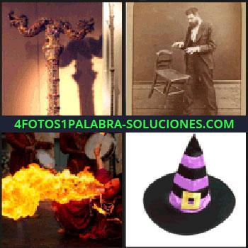 4 Fotos 1 Palabra - Objeto dorado, hombre haciendo volar una silla, hombre echando fuego de la boca, sombrero de bruja.
