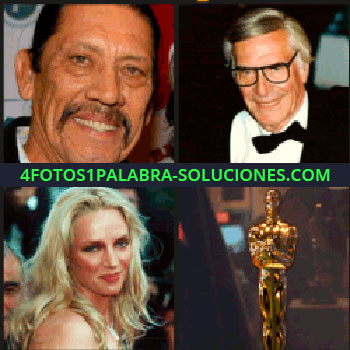 4 Fotos 1 Palabra - Actores. Uma Thurman. Hombre con bigote. Señor con lentes o gafas. Mujer rubia. oscar