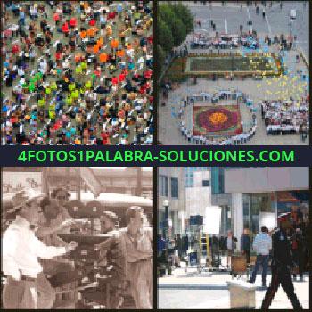 4 Fotos 1 Palabra - Cámara cinematográfica antigua, plaza con gente de la mano formando un corazón, mucha gente