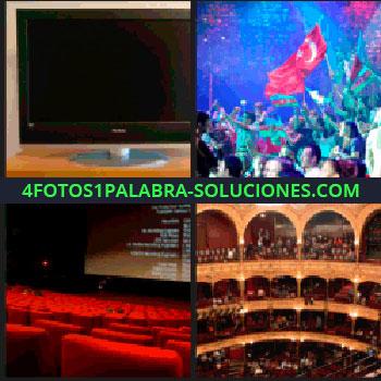 4 Fotos 1 Palabra - Televisión, festival Eurovisión, gente con banderas de Turquía, sala de cine casi vacía, teatro: