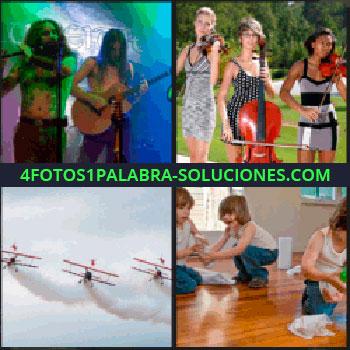 4 Fotos 1 Palabra - Trillizos, tres chicas con violín, actuación musical con flauta y guitarra, tres avionetas