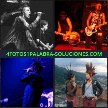 4 Fotos 1 Palabra - Dos personas con pelo levantado, dos músicos tocando la guitarra, grupo musical actuando, cantante con pelo de punta
