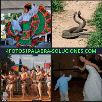 4 Fotos 1 Palabra - Mujer con traje tradicional bailando, baile tribal, novia bailando con un niño, serpientes enlazadas
